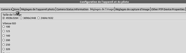 gtkam - Configuration de la prise de vue