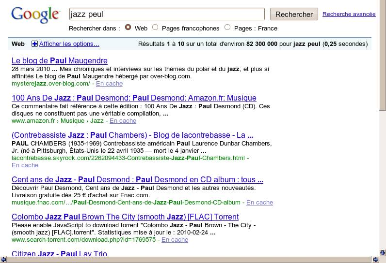 Jazz Peul Google results