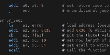 Sample of RISC-V assembly code